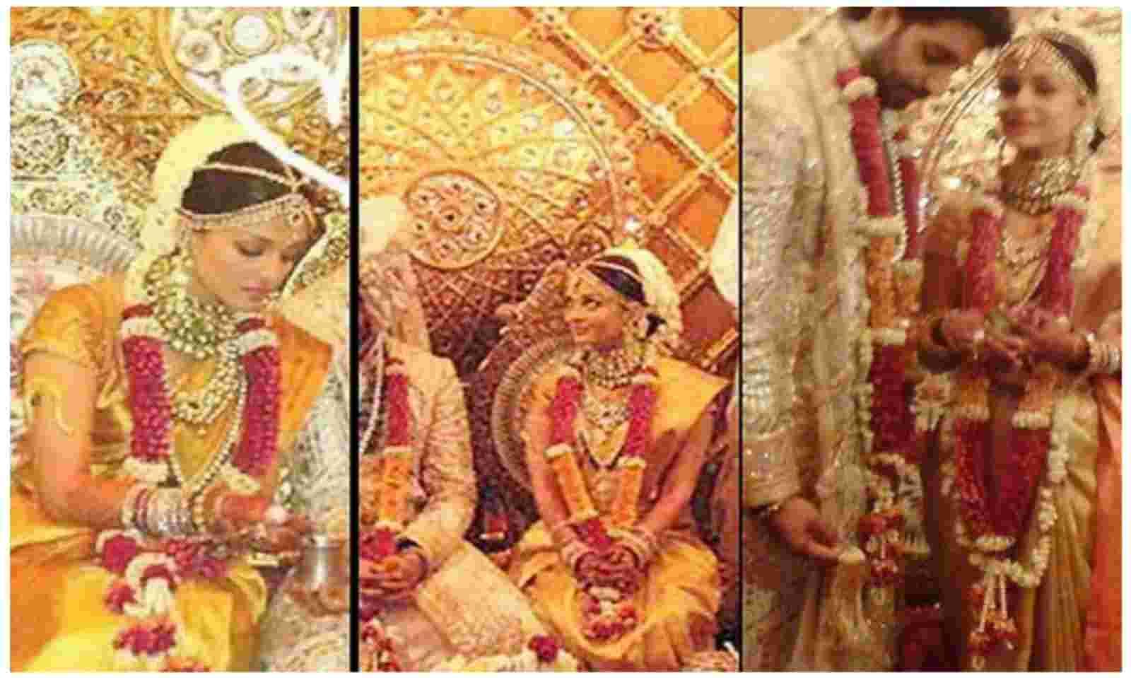 ऐश्वर्या राय ने अपनी शादी के लिए कांजी वर्म सिल्क साड़ी चुनी थी. कांजी वर्म साड़ियां दक्षिण भारतीय राज्य तमिलनाडु में बनाई जाती हैं.