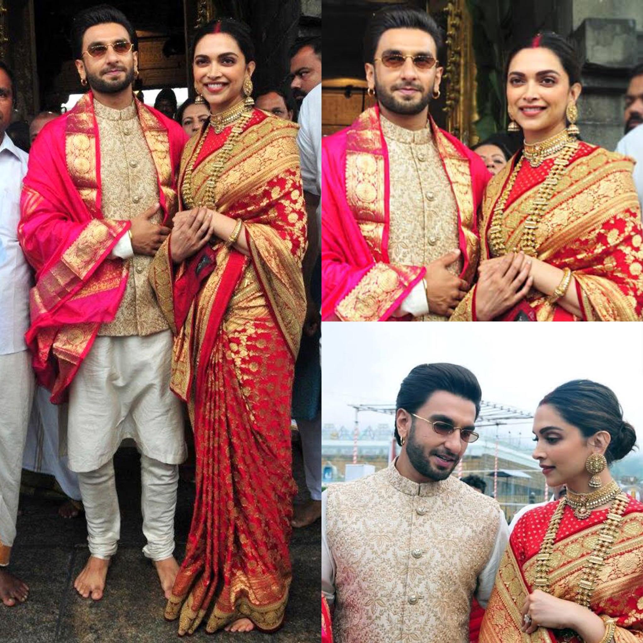 दीपिका पादुकोण और रणवीर कपूर की शादी उनके सभी प्रशंसकों का ध्यान का केंद्र थी. वैसे तो उन्होंने इस खास दिन के जश्न को बहुत ही गुप्त रखा था लेकिन बाद में तस्वीरें सामने आईं कि दीपिका ने अपनी शादी में लाल और सुनहरे रंग की साड़ी पहनी हुई थी जिसके साथ उन्होंने