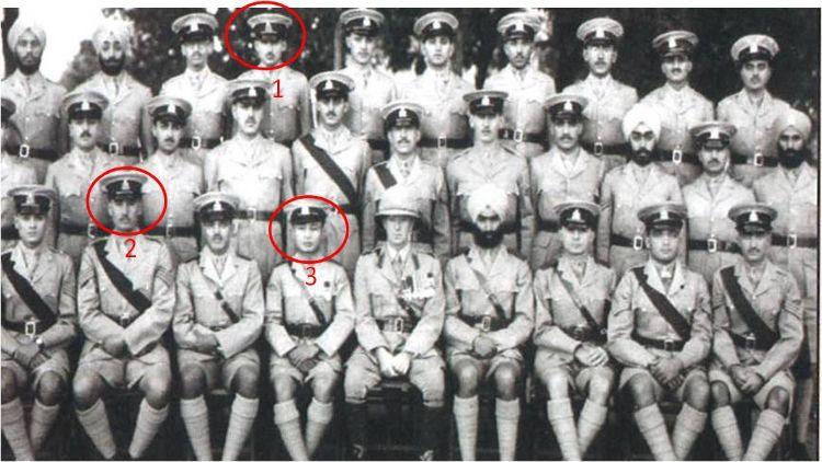 आईएमए में 'द पायनियर्स'. यहां नंबर 1 पर फील्ड मार्शल एसएलएफजे मानेकशॉ हैं, नंबर 2 पाकिस्तान के जनरल मोहम्मद मूसा हैं और नंबर 3 बर्मा के जनरल स्मिथ डन हैं, जो बाद में अपने-अपने देशों के सेना प्रमुखों के पद तक पहुंचे. (एडीजीपीआई फेसबुक)